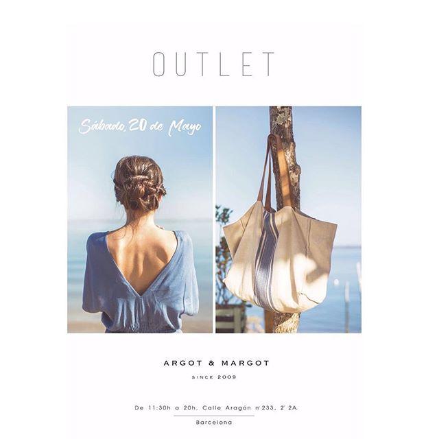 NEW!! El sábado 21 de Mayo, nuevo OUTLET Argot & Margot!! Esta vez os esperamos en Barcelona, en el segundo piso de la calle Aragón, 233!  Como siempre, buen ambiente y un montón de ropa y accesorios a los mejores precios para empezar bien el verano!  #outlet #argotymargot #mercado #mercadito #popup #barcelona #moda #complementos #a&m
