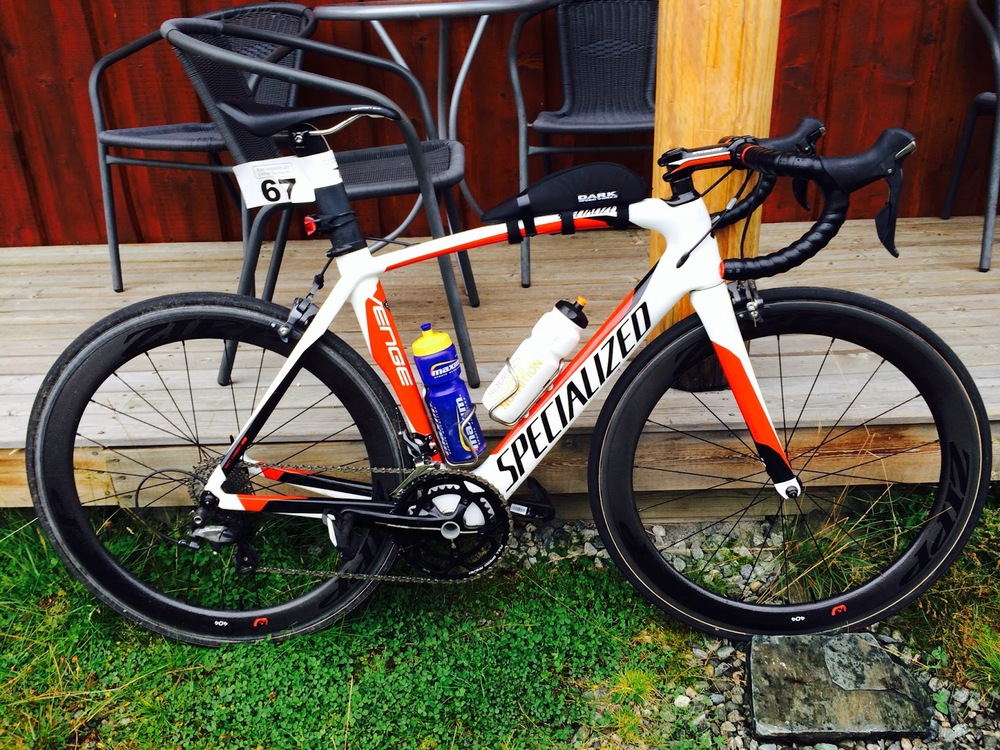 Marius bike a Specialized Venge set up with a 52-36 crank and 28 cartridge