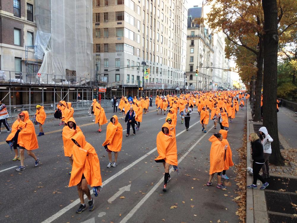 Marathoners after the New York Marathon