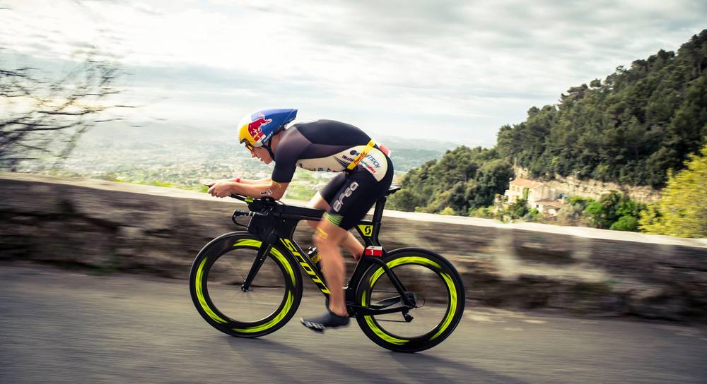 IRONMAN World Champion Sebastian Kienle during the Cannes bike leg