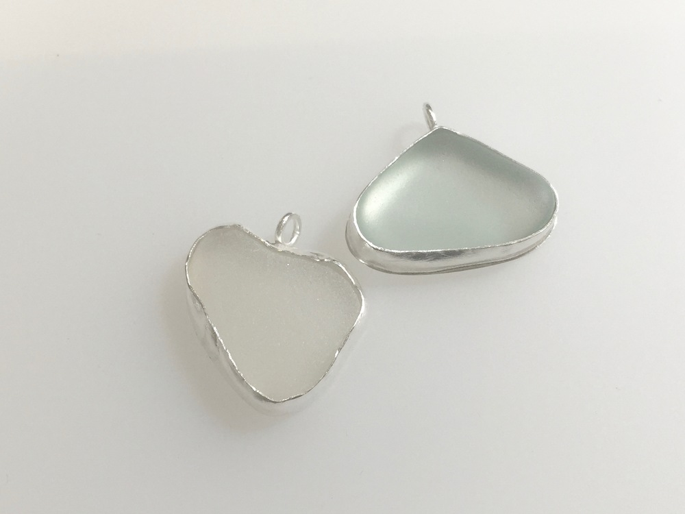 Bezel Set Sea Glass Pendants