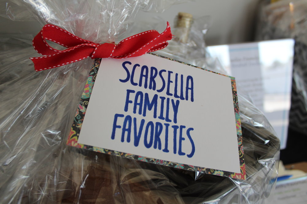 The Scarsella Family Favorites silent auction basket included big ticket items such as, Scarsella Homemade Wine & Pasta Sauce, and more.