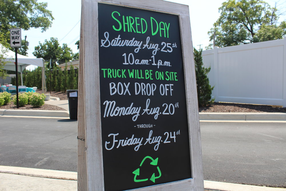 RWS is hosting a Shred Day event on Saturday, August 25th from 10:00am to 1:00pm at our Royal Oak office. Bring any files/paper you would like to shred between Monday the 20th & Friday the 24th!