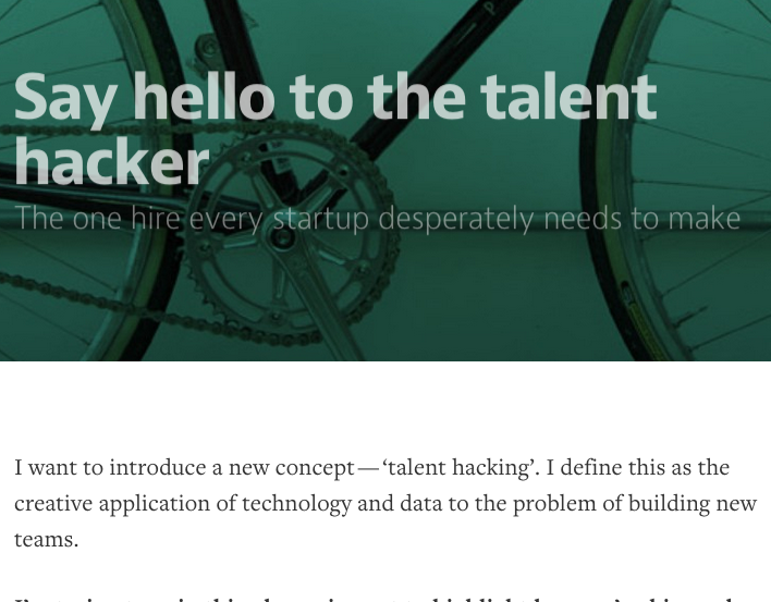 """Say hello to the talent hacker"" by Nick Marsh"