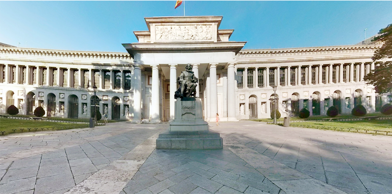 Photo orientation and navigation. Visualisation of the  Velazquez Entrance, Museo del Prado, Madrid