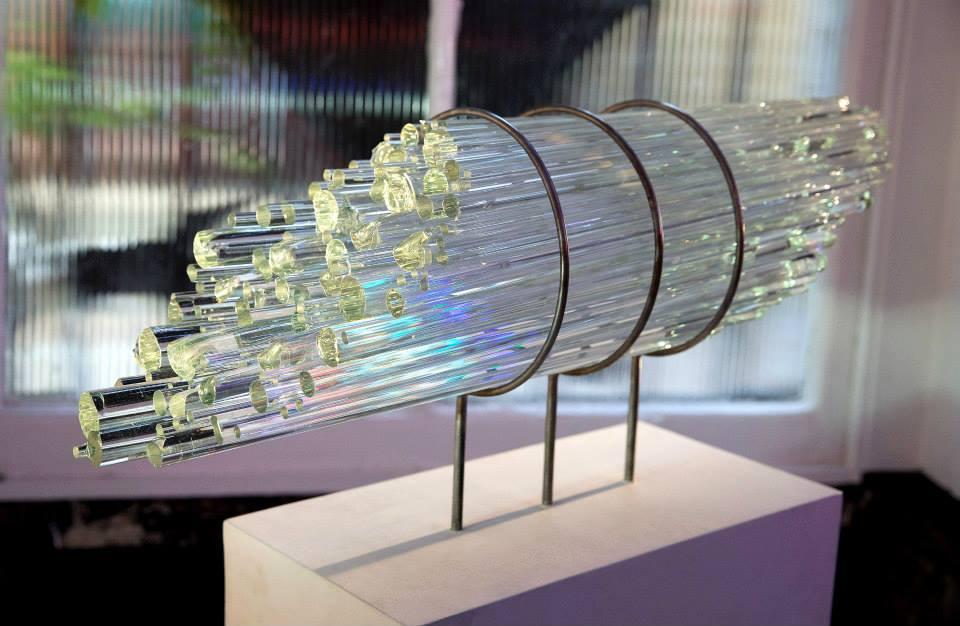 Harmonic Lens. Borosilicate glass rods, steel. 2015