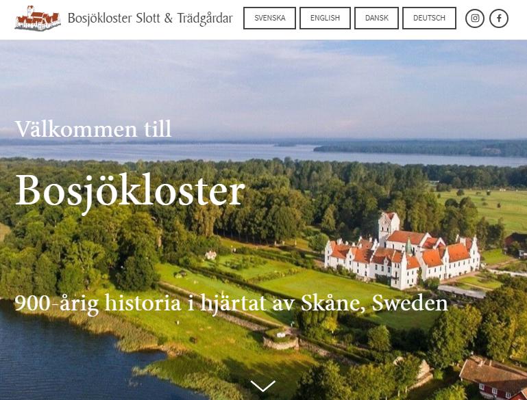 Bosjökloster Castle & Gardens, Sweden - Multi-lingual site, completed April 2019