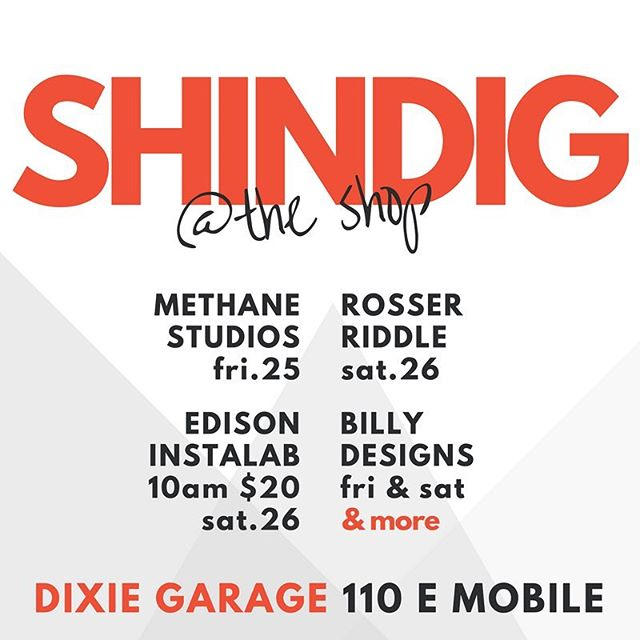 We are stoked to have some of our very talented friends coming to join us this weekend for #shindigno9 come by the shop to see what all they have!