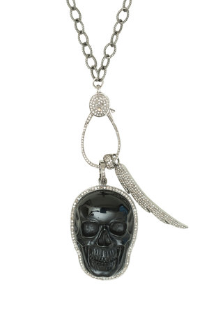 Carved black onyx skull pendant wing pendant eternity bead and carved black onyx skull pendant wing pendant eternity bead and charm holder in pave champagne diamonds on a sterling silver textured chain necklace in aloadofball
