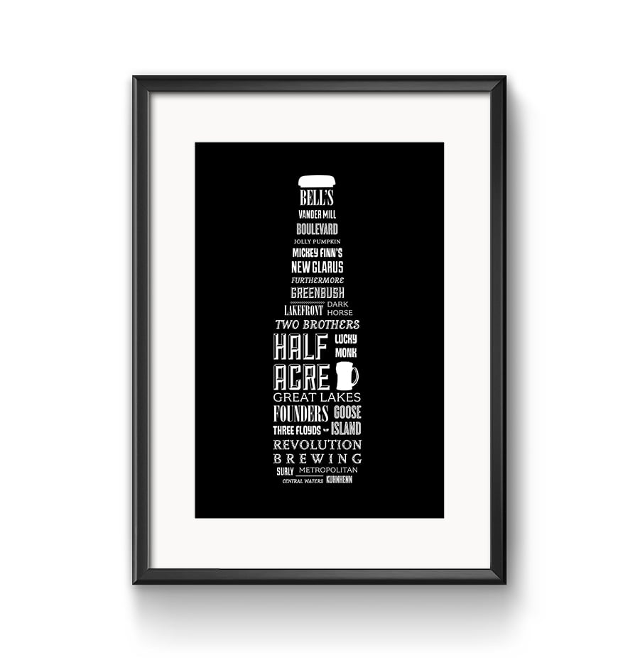 Midwest Craft Breweries Typography Poster