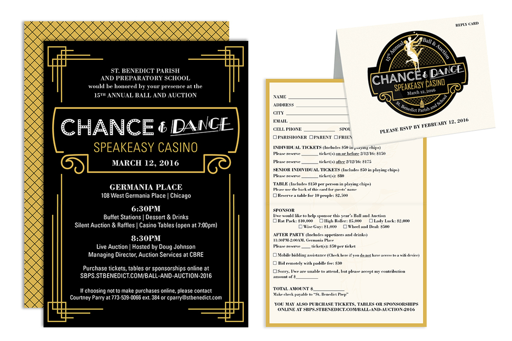 St. Benedict's 2015 Ball & Auction Invite and Reply Card