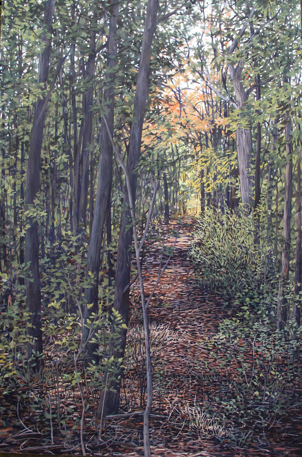 """Passage: Forest Hills Cemetery, 2019  gouache on panel, 36"""" x 24"""""""