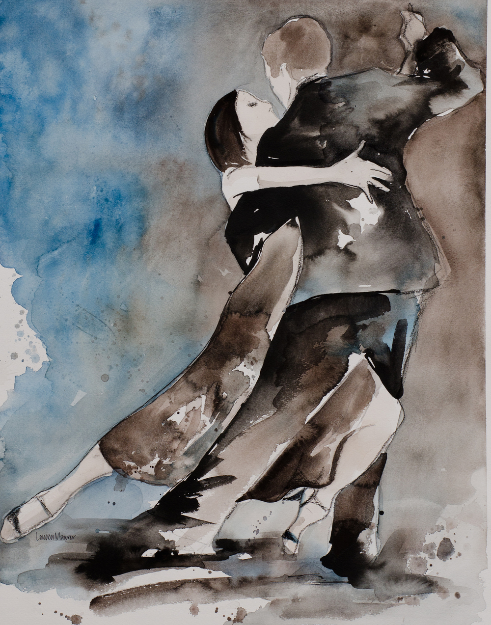 Michelle and Joachim - 16x20 - watercolor, ink, and charcoal