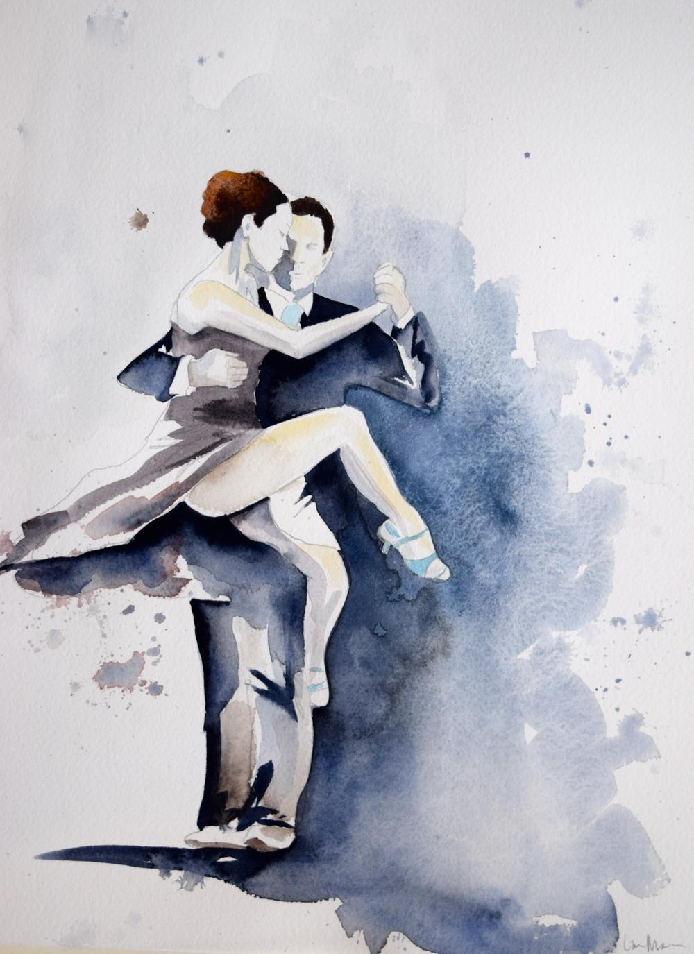 Talking in Circles - 11x14 - watercolor
