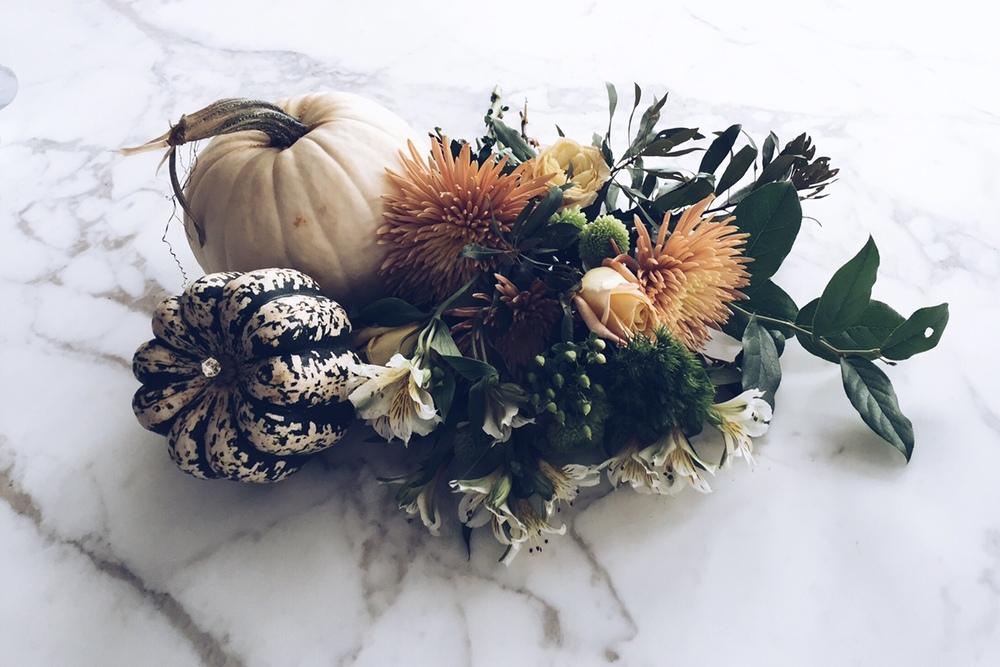 fall decor - white pumpkins and fall flowers - threestudios.net