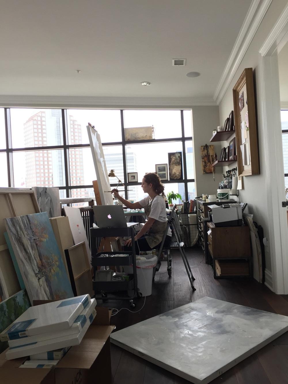 Lauren Bolshakov in her art studio