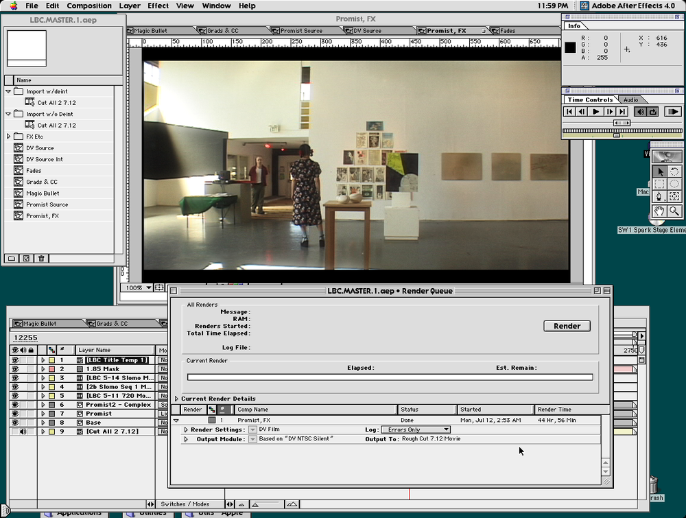 Rendering The Last Birthday Card in After Effects 4 on the blue G3 in 1999. Click to enlarge. Don't miss the render time.