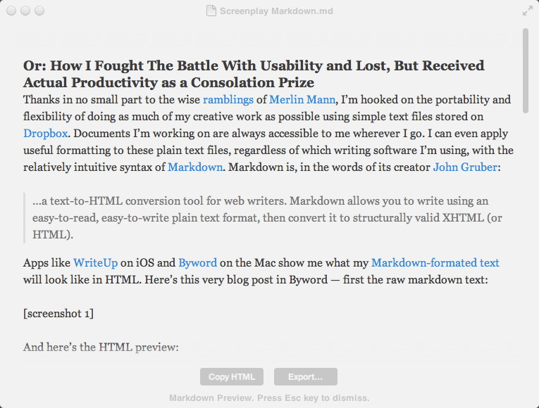 Screenplay Markdown — Prolost