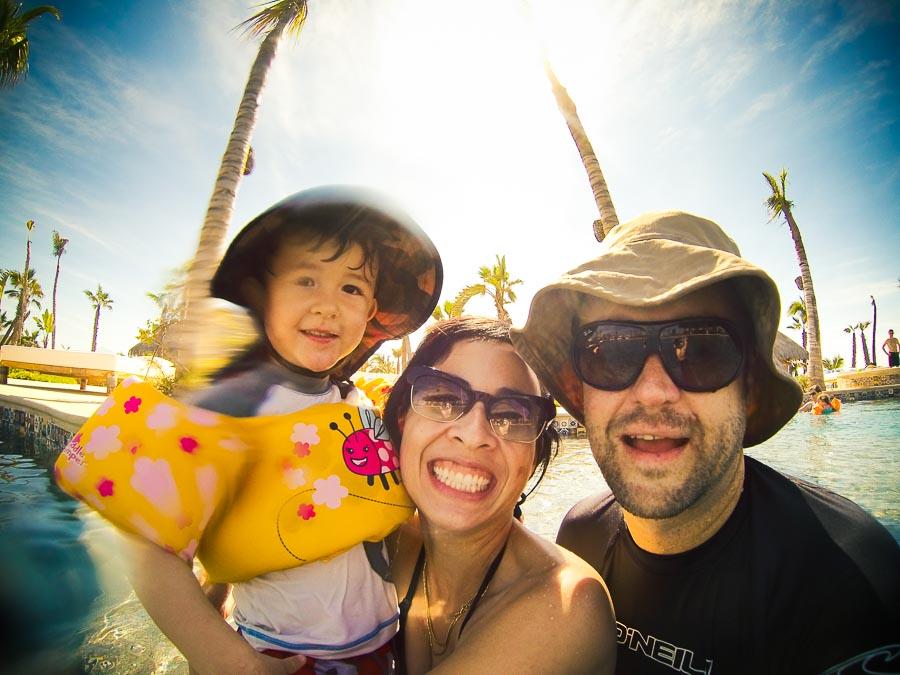 Baja pool family selfie with GoPro HERO3
