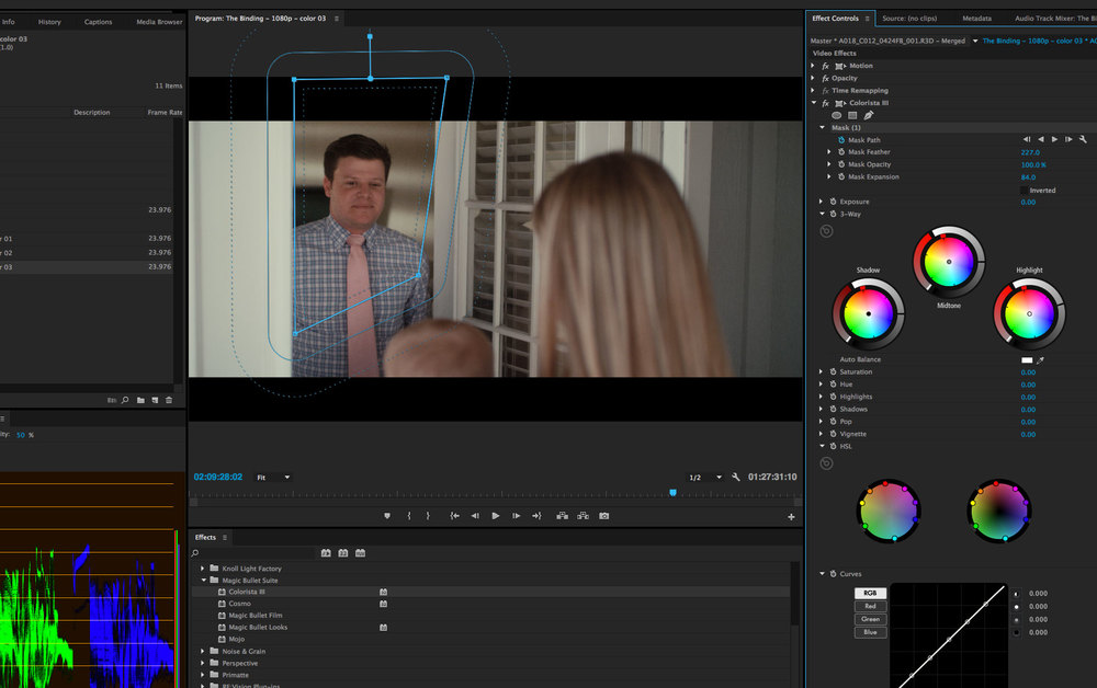 Premiere's excellent Effects Masks working in conjunction with the Colorista keyer to boost exposure in the doorway.