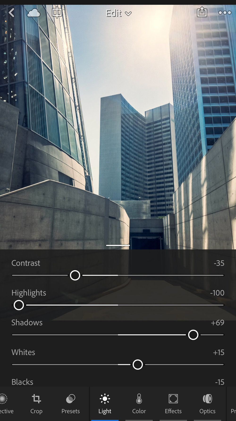 The majority of the tone mapping of an HDR shot comes from the Highlights and Shadows sliders, which default to aggressive settings that you may wish to tone down.