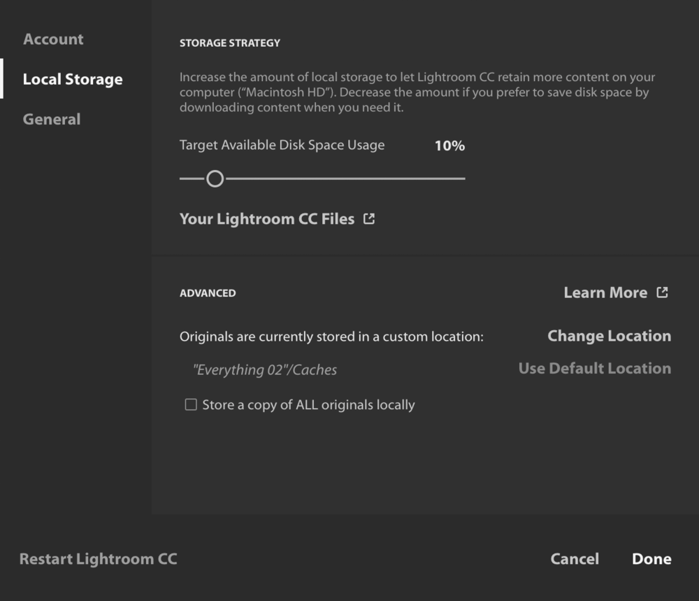 """Here's Lightroom CC set up as Benjamin describes. Originals are stored as needed on my external drive unironically called """"Everything 02,"""" but won't be kept there for longer than Lightroom CC needs them for caching purposes."""