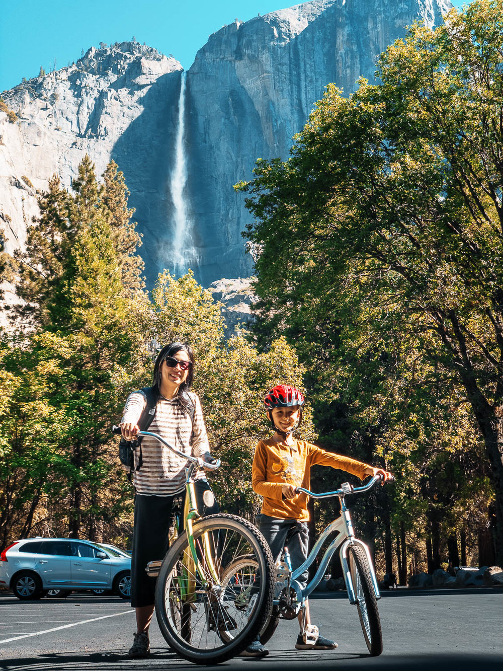 My wife and son in front of Yosemite Falls. Prolost Geartrain GT10 profile, all processing done in Lightroom CC for iOS.