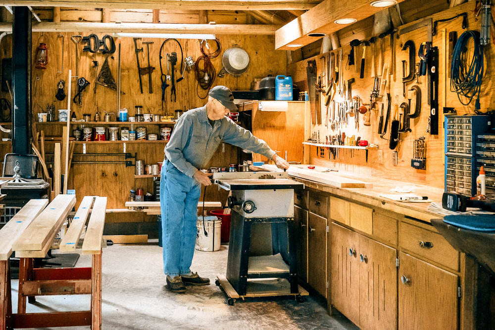 My father in his workshop in northern Minnesota, building a temporary pine countertop to test the fit of the actual hardwood countertop he's planning on making. I'm proud to think my computer is as organized as his workshop. Unfortunately for both of us, my workshop is as organized as his computer.