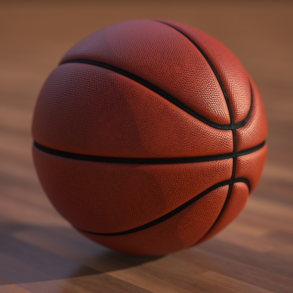 Basketball done completely from scratch, however the wooden floor is from Keyshot's Poliigon Texture pack.