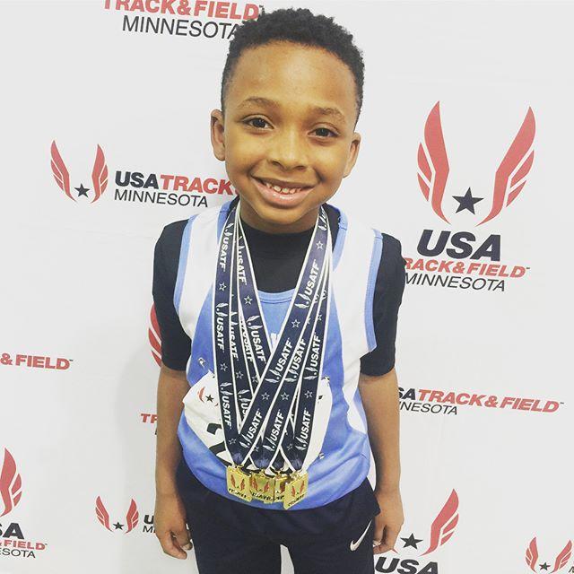 🥇🏃🏾♂️💨 (swipe 👉🏾 for video!) A L L G O L D EV E R Y T H I N G - USA Track & Field Championship :: 1st & set meet record in 60m 1st in 200m 1st in 400m 1st & set meet record in 4x400 - Annnd, he's only 7! Lol! Seriously, #MrDash is my #motivationmonday! - #mylittletrackstar #TrackandField #TrackMom #Minnesota #Midwest #USATF #trackUSA #tracklife #sprinter #runner #tracknation