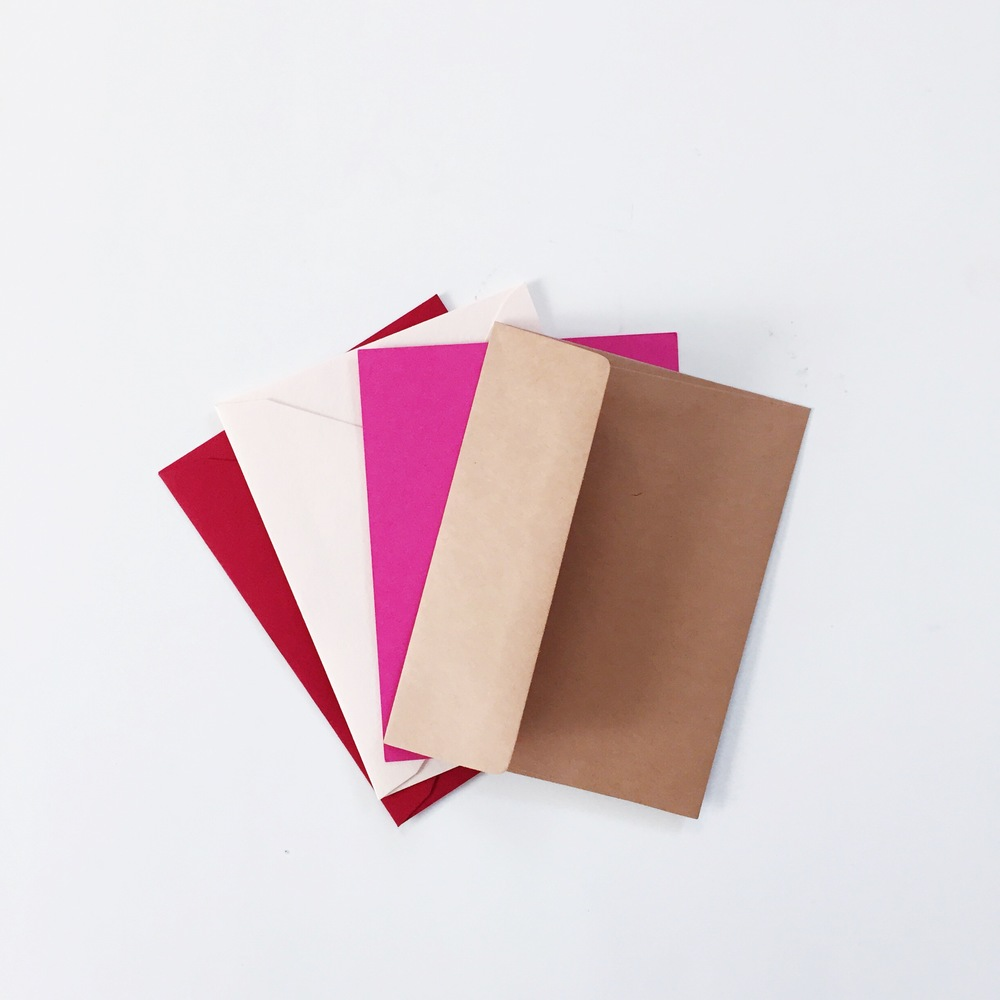 envelope color choices: red, blush pink, hot pink, kraft