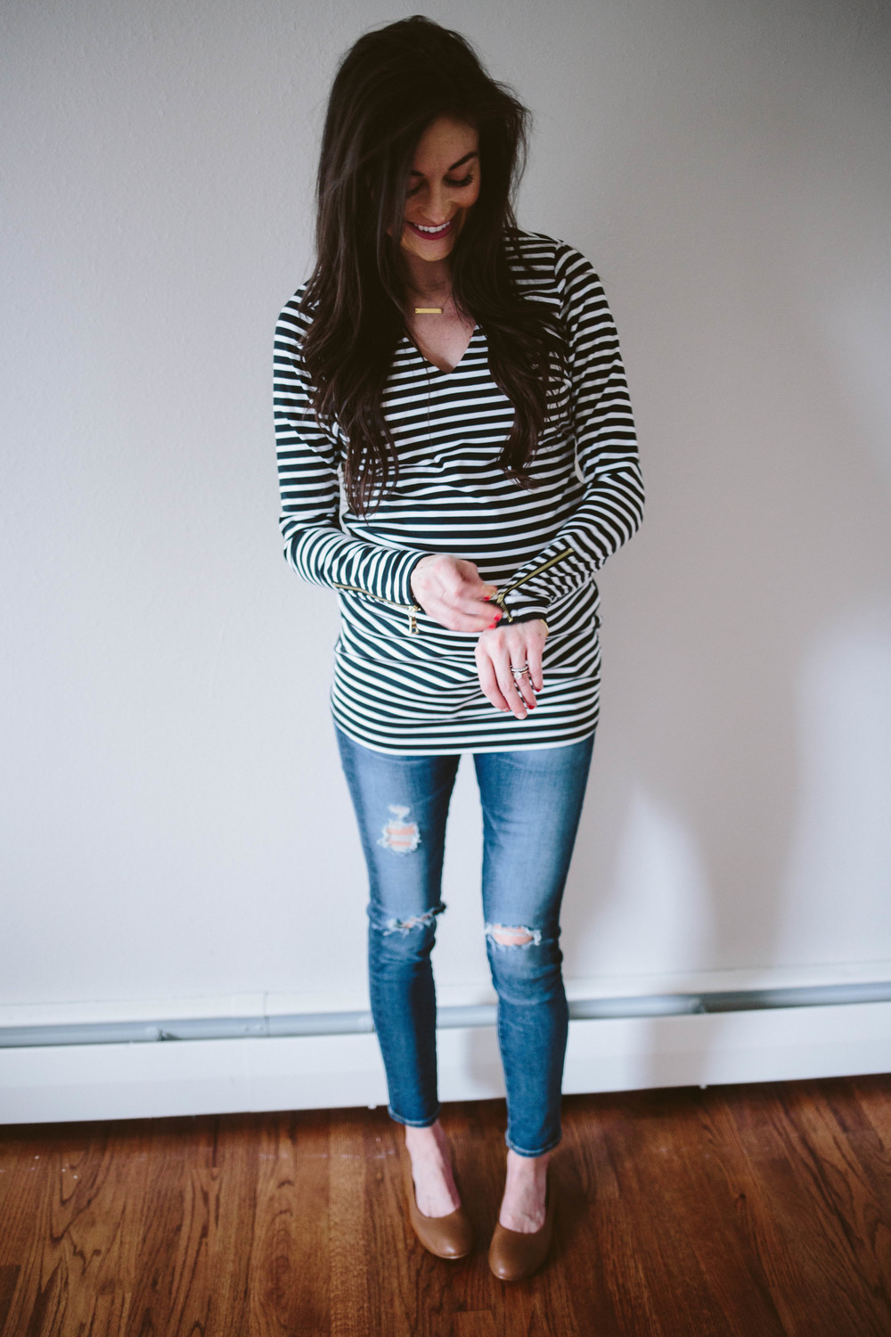 Maternity capsule wardrobe allie seidel rachel zoe striped top ag distressed jeans both available at a pea in the pod this top is amazing its made of stretchy and thick fabric ombrellifo Images