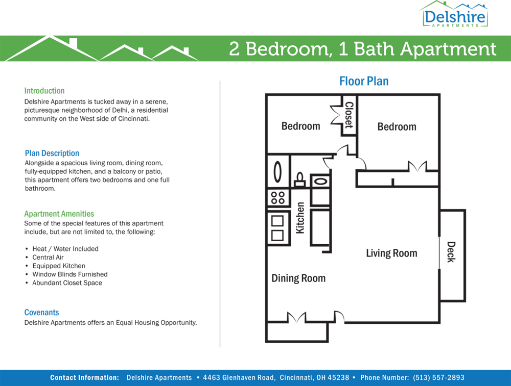 Delshire Apartments Two Bedroom One Bathroom Floor Plan.png