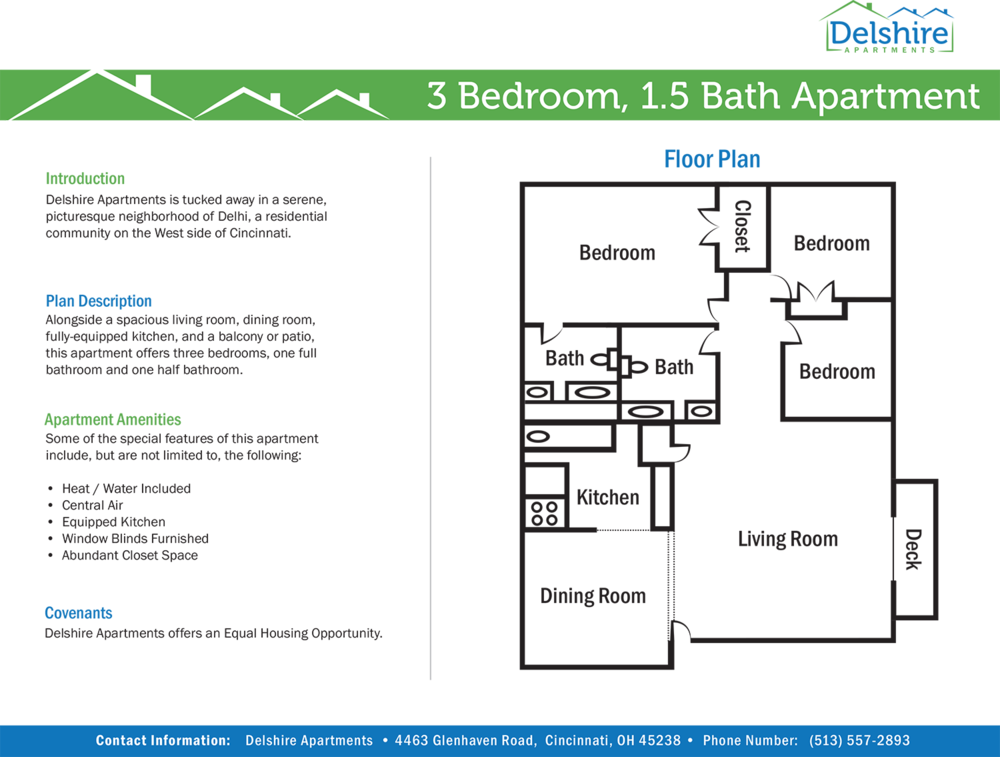 Delshire Apartments Three Bedroom One and One Half Bathroom Floor Plan Apartment
