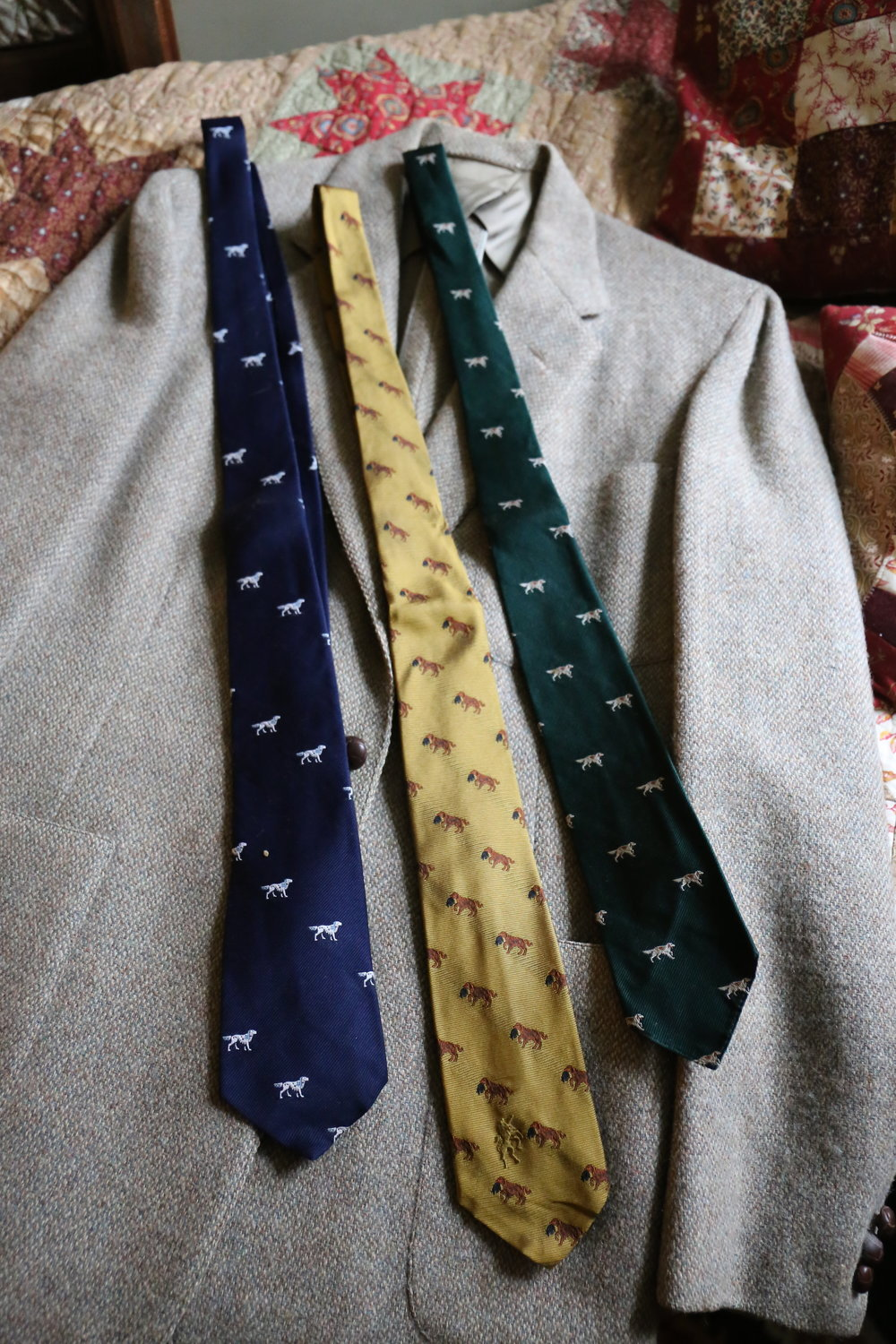 Sportcoat and setter inspired ties belonging to George Bird Evans. George and Kay would dress for dinner each night, a testament to the elegance of the life they lived at Old Hemlock.