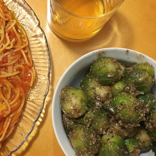 Last night I turned a 50¢ bag of microwavable brussels sprouts into oven roasted Parmesan and balsamic vinegar brussel sprouts drizzled with honey, something I improvised on the spot. They were glorious. Less of a food brag and more of a celebration of finding my creativity and intuition in the kitchen again, after almost two years of having very little of myself left to put into cooking!