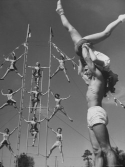hollyhocksandtulips :      Circus students     Photo by Loomis Dean, 1950's