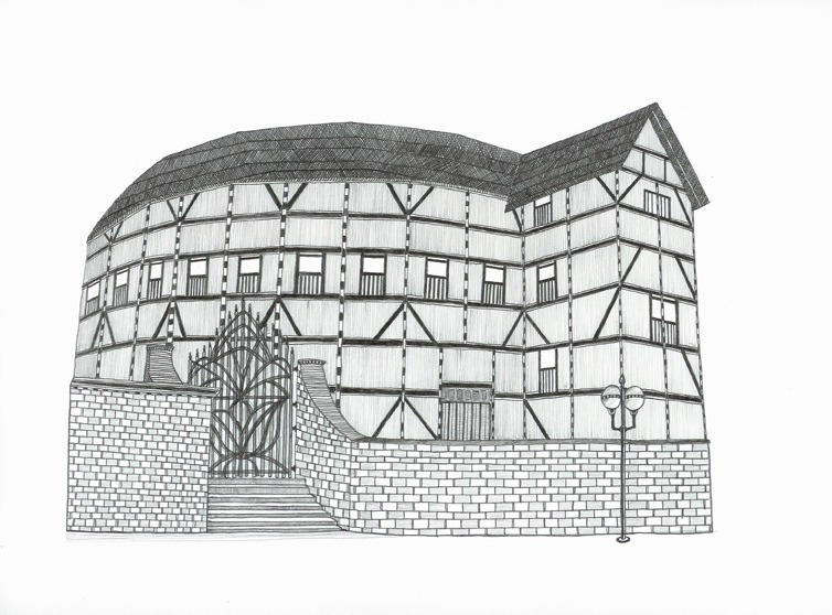 fridaynotes :     the globe theater, graphite on paper, 2007     I love Tim Hull.