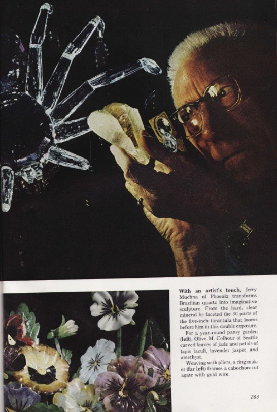 nationalgeographicscans :     February 1974     Jerry Mucha of Phoenix transforms Brazilian quartz into imaginative sculpture. For a year-round pansy garden (bottom image) Olive M. Colhour of Seattle carved leaves of jade and petals of lapis lazuli, lavender jasper, and amethyst.