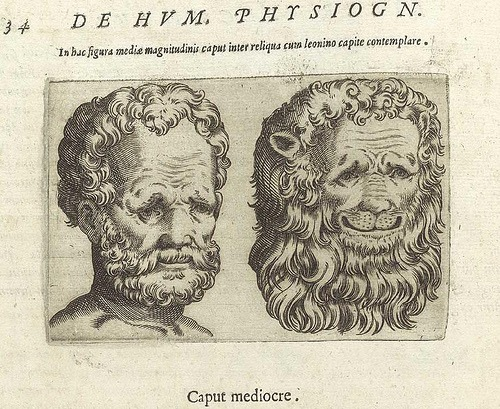 Giambattista Della Porta,  Comparison of a Head of a Lion and a Man.  From De Humana Physiognomonia , 1586.