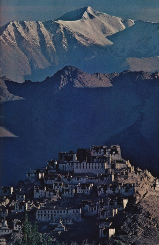 nationalgeographicscans: March 1978- the lamasery of Tikse climbs a high knoll in the Indus River Valley, east of Leh.