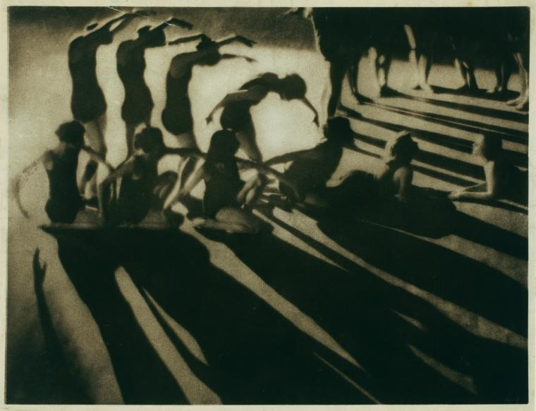 Ted Shawn's 1919 Music Visualizations, Synchoric Orchestra dancing Schubert's Unfinished Symphony. Can't stop staring at the shadows.     Kales, Arthur — Photographer.     Source: Denishawn Collection   Repository