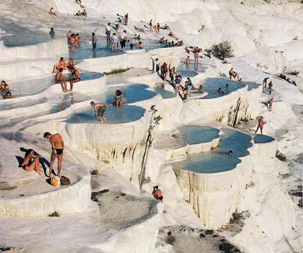 UNESCO natural hot spring terraces in Pamukkale, Turkey. I said TERRACES!