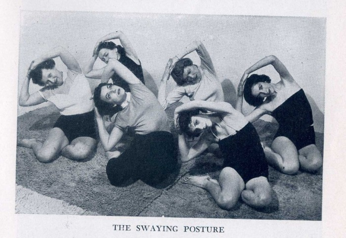"""I love themischievous one on the far left. Found on Rachel and Yoga .From Indra Devi's """"Yoga For Americans"""""""