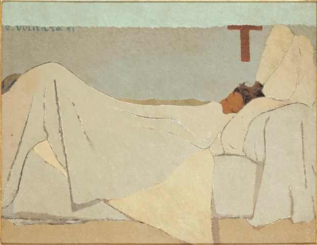 It seems she has a quiet mind at least in this moment. Meaningful things do not need to be complicated, forceful, or difficult. There is much beauty to be found in softness, subtleness, simplicity and clarity. Also, I like anything monochromatic. And I like sleeping.     Vuillard's  Au Lit (In Bed)  in Musee d'Orsay, Paris
