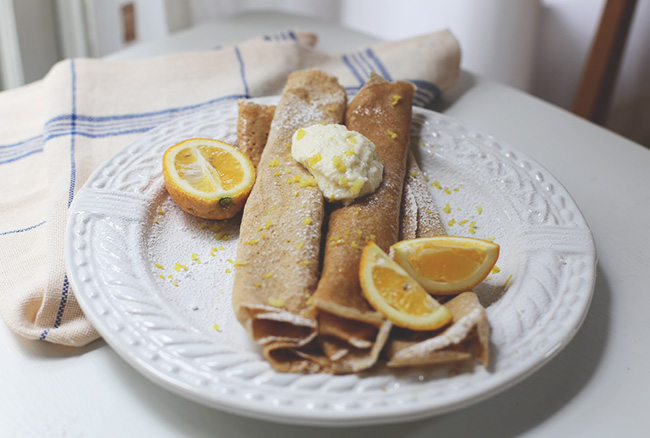 meyer lemon + ricotta crepes
