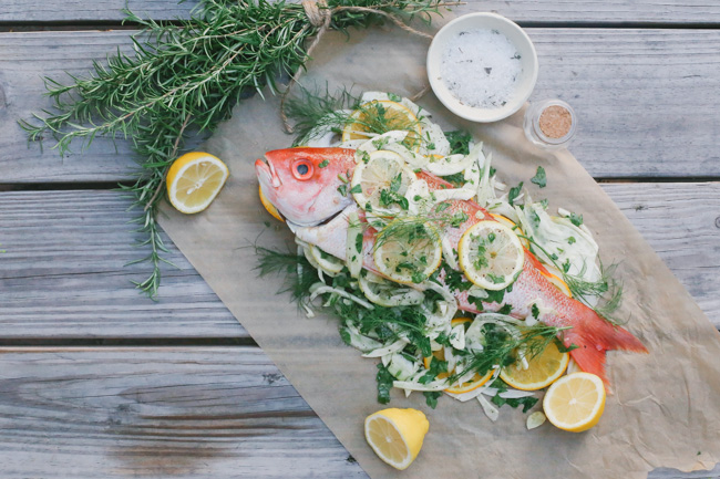 baked snapper with fennel orange + parsley and a peach feta + macadamia salad