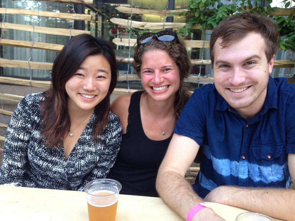 Esther, Alyssa and Jonathan enjoy a beer.