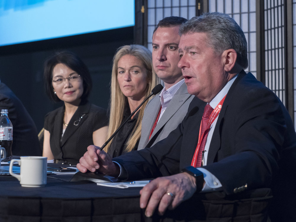 "Panel members for the ""Next Big Thing in CV Sciences"" session. From left to right: Rui-ping Xiao, MD, PhD; Jennifer Davis, PhD; John W. Elrod, PhD; Steven R. Houser, PhD, FAHA."