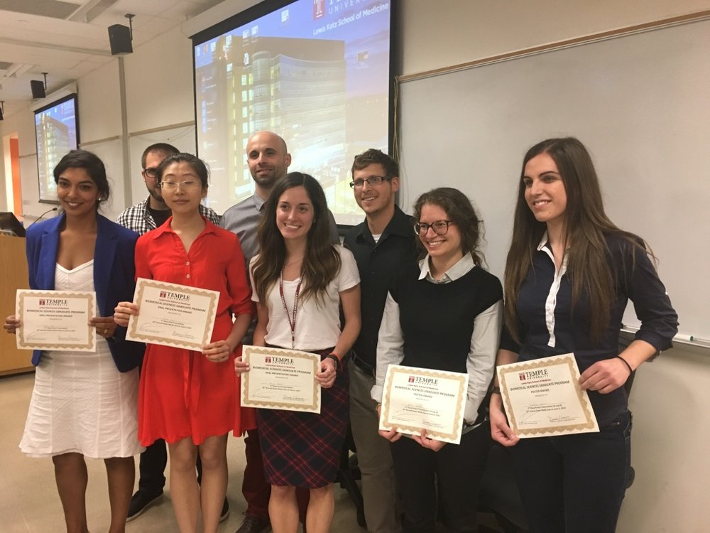 Alyssa, second on right, with the other winners of the oral and poster presentations.